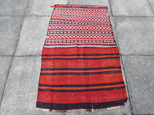Old Hand Made Persian Oriental wool Red Colourful kilim Runner 136x86cm