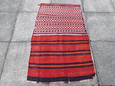 VECCHIO Persiano Fatto a Mano Orientale Lana Rosso Colorato Kilim Runner 136x86cm