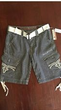 New $99.95 Rock Revival Mens Navy/White Stripe Cargo Shorts with Belt Size 34