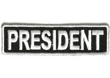 PRESIDENT WHITE 1 X 3 1/2 CLUB EMBROIDERED BIKER PATCH