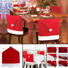 4pcs Santa Clause Red Hat Chair Back Cover Christmas Dinner Table Home Decor