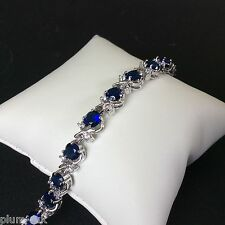 "GB041 Plum UK blue sapphire & cz 7""  tennis bracelet silver /white gold gf BOXD"