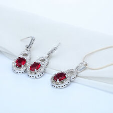 Woman fashion jewelry 925 Silver Ruby Necklace pendant+earring jewelry Set