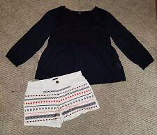 GAP Ditsy Daydream navy eyelet top and white denim shorts 14-16 EUC