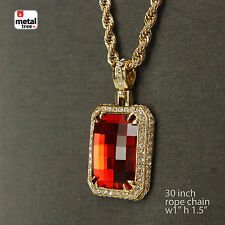 "Men's Hip Hop Gold Plated Red Ruby Pendant With 30"" 5mm Rope Chain Necklace Set"