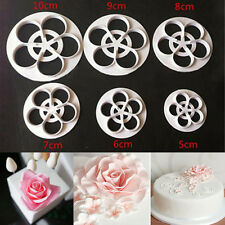 6PC Fondant Cake Sugarcraft Rose Flower Decorating Cookie Mold Paste Cutter Tool