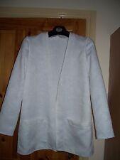 Muy pálido crema de borde a borde sin forro chaqueta larga, talla 14 Nuevo sin etiquetas-Ver Detalles