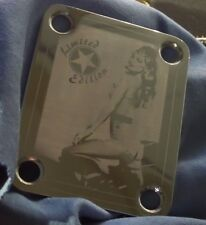 Chrome Engraved Pin Up 99 Guitar Neck Plate  fits Fender tele/strat/squier
