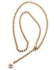 Rare! Authentic Cartier 18k Yellow Gold Diamond Pearl Lariat Link Necklace