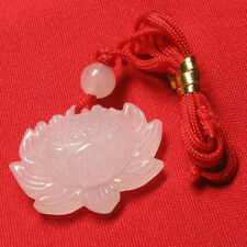 Delicately Carved White Jade Open Bud Lotus Flower Pendant -w silk cord attached