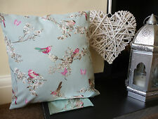 BEAUTIFUL BIRDS, BUTTERFLIES CUSHION/PILLOW COVER. DUCK EGG BLUE. 100% COTTON.