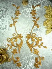 """GB90 Embroidered Appliques Gold Metallic Floral Vine Mirror Pair Iron On 9"""""""