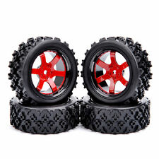 D6NKR+PP0487 4 Pc Rubber Tires Wheel Rim For HSP HPI RC 1/10 Rally Off Road Car