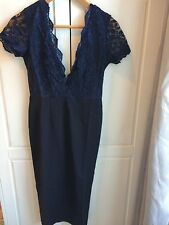 ASOS BNWT Club L Bodycon Wiggle Plunge Dress V Back Navy Size 8 Valentines