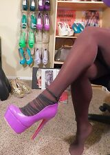 Sexy Purple High Heels, Closed toe Pumps, Strappy, Pink Bottom, 10, Ami