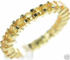 Gold Over Solid 925 Sterling Silver Citrine Eternity Band Ring Size-5 '