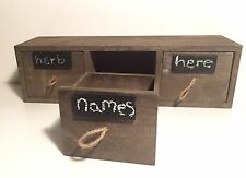 Wooden Herb Box With 3 Drawers And Chalkboard Labels Storage Rustic Herb Rack