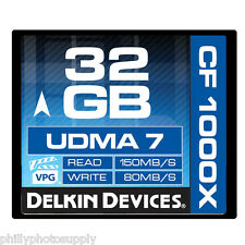 Delkin 32GB CF Memory Card 1000X UDMA 7 80MB/S Write  - Lifetime Warranty