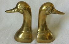 2 Vintage Solid Brass Duck Mallard Bookends Waterfowl Figurines