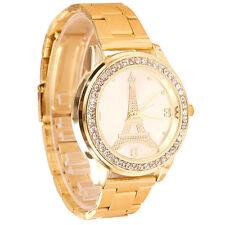 Moda Mujer Cuarzo relojes Clásico Torre De Hierro Redondo Con Cristales