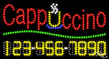 """NEW """"CAPPUCCINO"""" 32x17 w/YOUR PHONE NUMBER SOLID/ANIMATED LED SIGN 25020"""