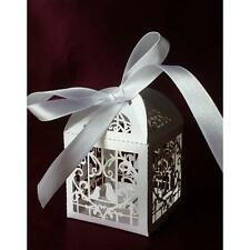 Love Bird Heart Laser Cut Candy Gift Boxes With Ribbon engagement Party white G5
