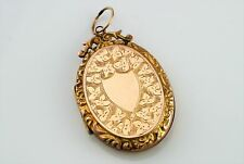 Fine Antique Victorian Engraved  9ct Rose Gold Back & Front Oval Locket Pendant