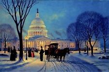 John Barber S/N print-A WINTERS EVENING ON THE HILL