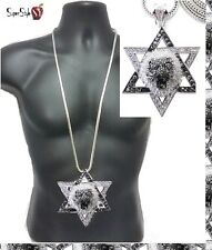 "Star Of David Jewish Green Hip Hop Iced Out Lion Pendant Silver 36"" Franco Chain"