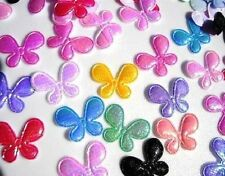 200 Assorted Mini Butterfly Shiny Iridescent Fabric Applique/trim/padded H253