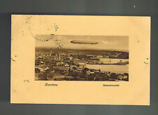 1908 Karlsruhe Germany Zeppelin Airship RPPC Postcard Cover flying over Konstanz