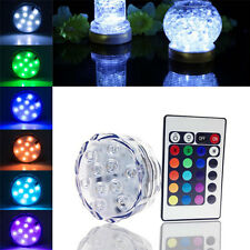 Waterproof Submersible 10LED RGB Light &Remote for Wedding Party Fish Tank Decor