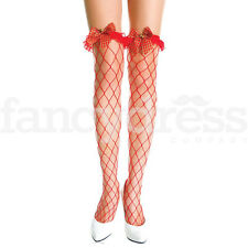 Music Legs Lycra Fence Net Thigh Highs with Tartan Bow Sexy Stockings Fishnet