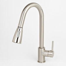 "NEW 16"" Brushed Nickel Kitchen Sink Faucet Pull Out Down Dual-Spray Swivel Spout"