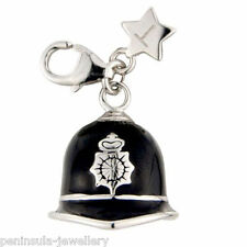 Tingle Sterling Silver clip on Police Helmet Charm with Gift Bag and Box