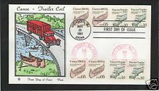 VAN NATTA CANOE TRACTOR TRAILER COIL HAND PAINTED HP FIRST DAY COVER FDC