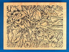 Large Daffodil and Tulip Background Rubber Stamp by Northwoods - Spring Bulbs