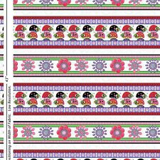 Cute Little Lazy LadyBugs cotton quilt fabric BTY Quilting Treasure Border Strip