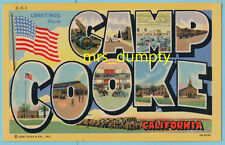 CA Camp Cooke ~ Military Large Letter GREETINGS California ~1940s Linen POSCTARD