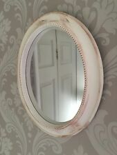 Oval Mirror Ornate Shabby Chic, Antique Style, Vintage, Distressed White