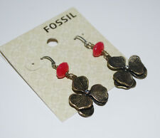 NWT Fossil Brand Brass Tone Stacked Flower Posey Drop Earrings