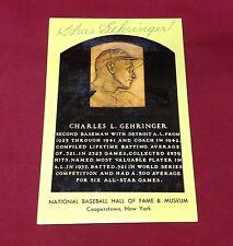 Charles Gehringer signed HOF Induction Plaque Post Card PSADNA Cert #C21295
