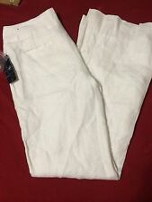 WOMENS WHITE LINEN TROUSER LEG DRESS PANTS SZ 2