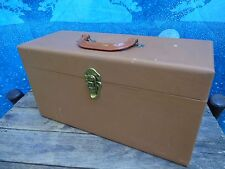 vintage 45rpm RECORD BOX 18 SINGLES BROWN Wood? plastic handle DOUBLE WIDE