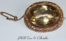 Antique 9ct Gold Oval Citrine Brooch
