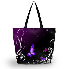Purple Butterfly Womens Large Foldable Tote Shoulder Shopping School Bag Handbag