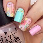 3D Flower Nail Art Nails Wraps Stickers Gold Studs Caviar Glitter UK Seller Y119