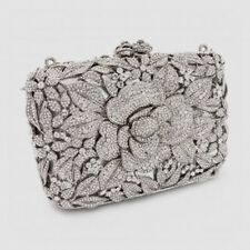 Butler & Wilson Clear Swarovski Crystal Flower Clutch Option Chain NEW