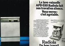 PUBLICITE ADVERTISING 054  1978  RADIOLA  lave vaisselle SILENCE ( 2 pages)
