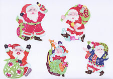 Chinese Paper Cuts Santa Claus & Christmas 10 colorful small pieces Zhou